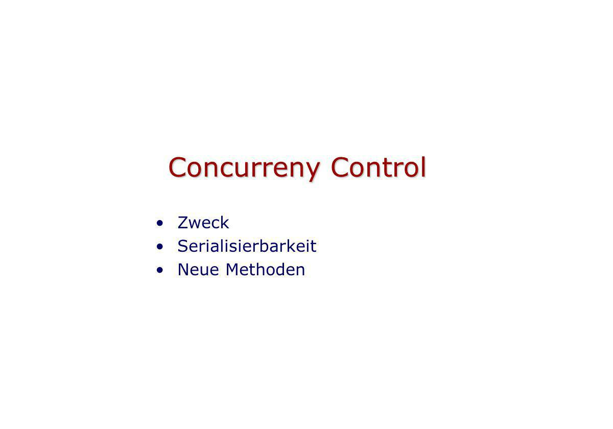 Concurreny Control Zweck Serialisierbarkeit Neue Methoden
