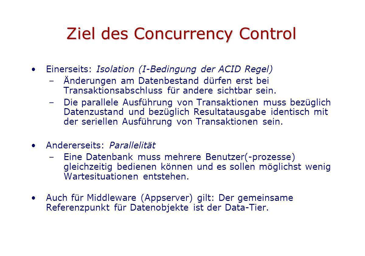 Ziel des Concurrency Control
