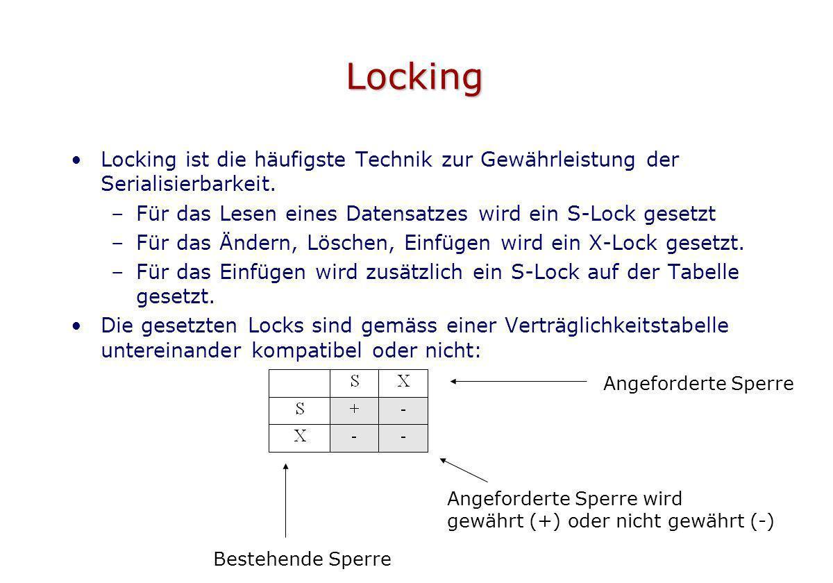 Locking Locking ist die häufigste Technik zur Gewährleistung der Serialisierbarkeit. Für das Lesen eines Datensatzes wird ein S-Lock gesetzt.