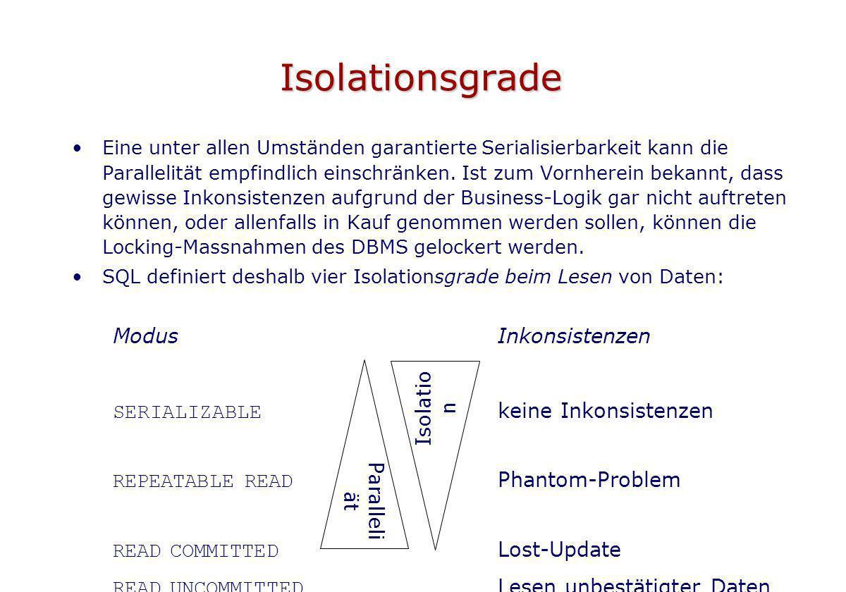 Isolationsgrade Modus Inkonsistenzen SERIALIZABLE keine Inkonsistenzen