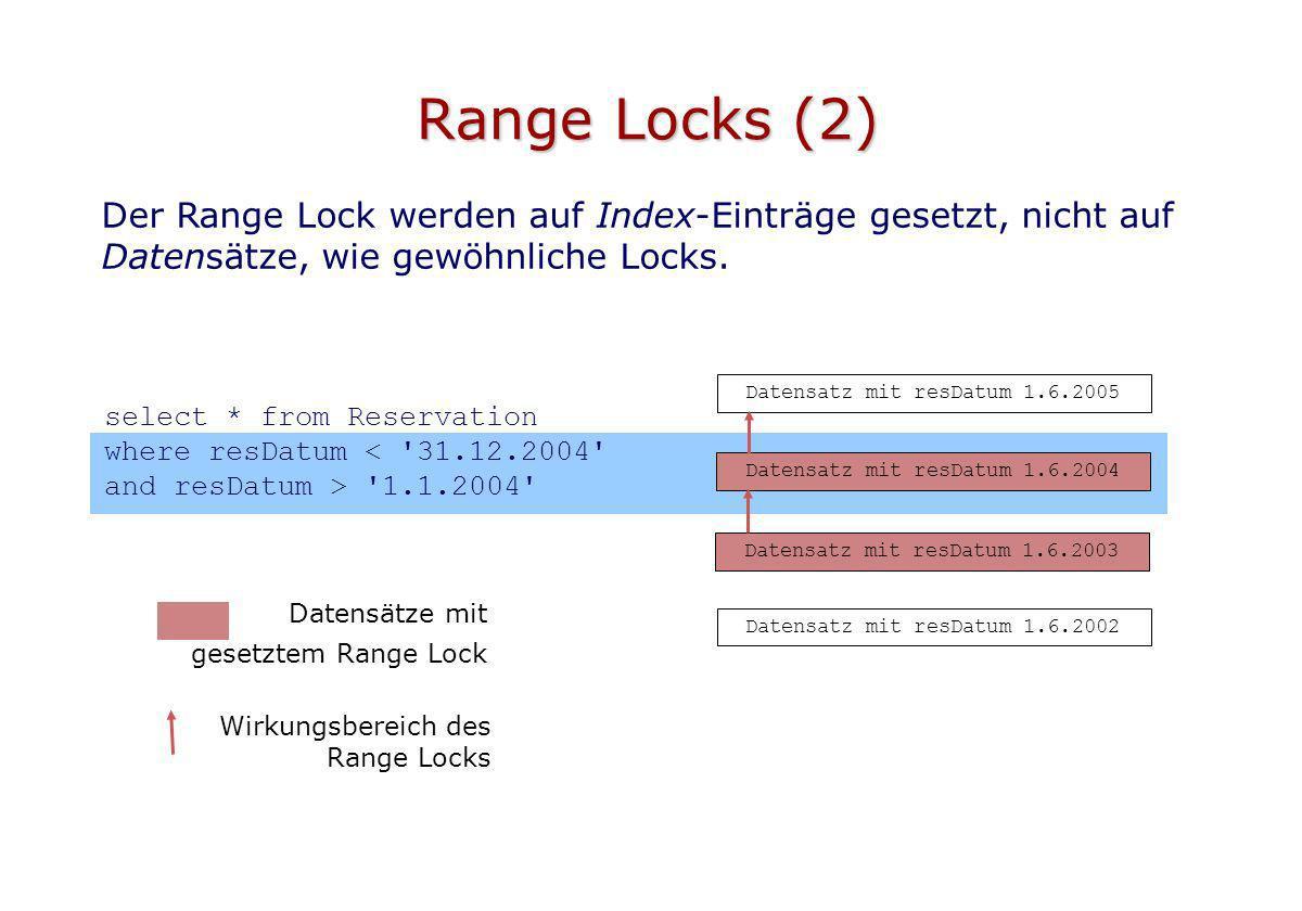 Range Locks (2) Der Range Lock werden auf Index-Einträge gesetzt, nicht auf Datensätze, wie gewöhnliche Locks.