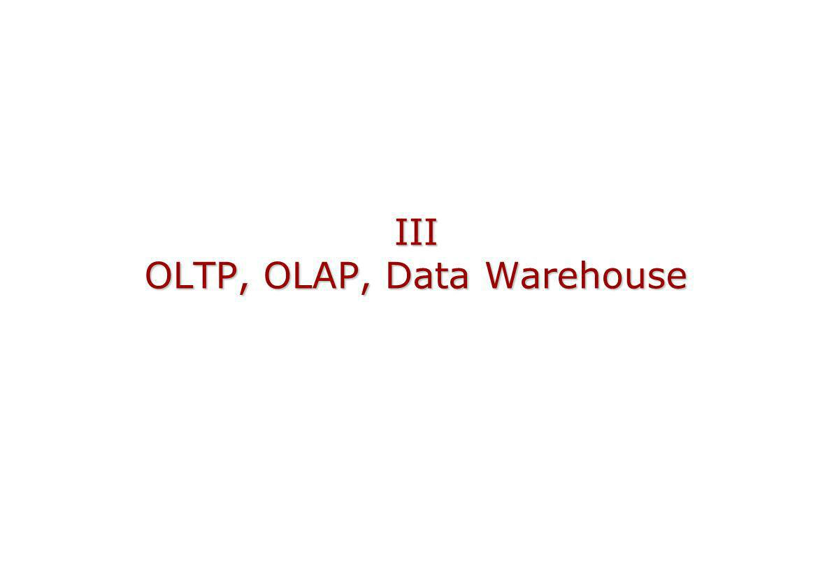 III OLTP, OLAP, Data Warehouse
