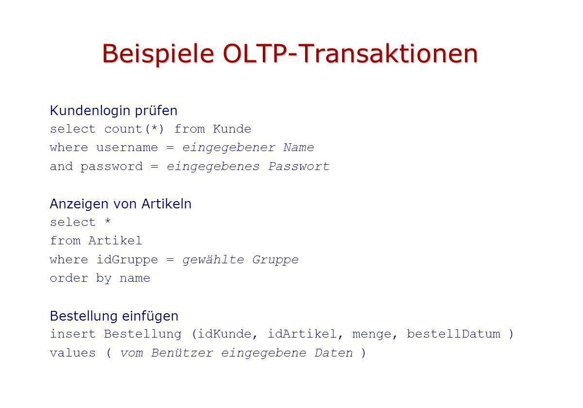 Beispiele OLTP-Transaktionen