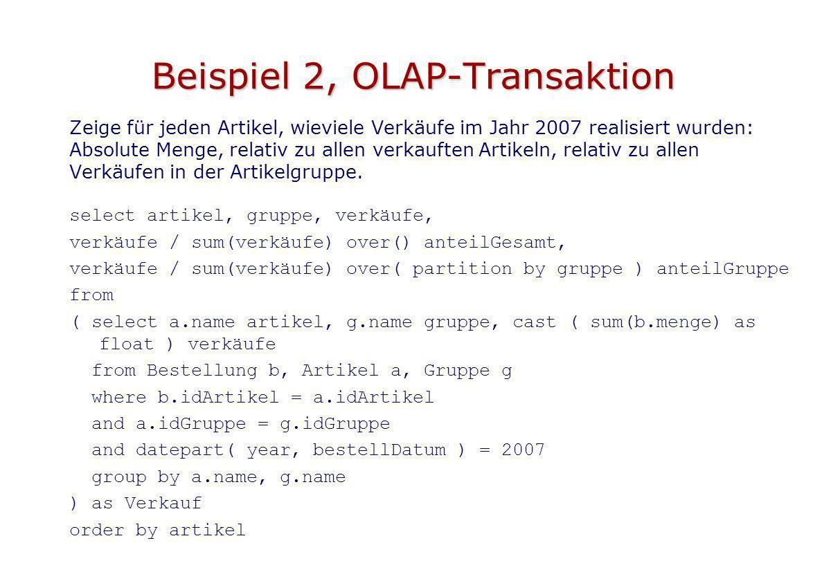 Beispiel 2, OLAP-Transaktion