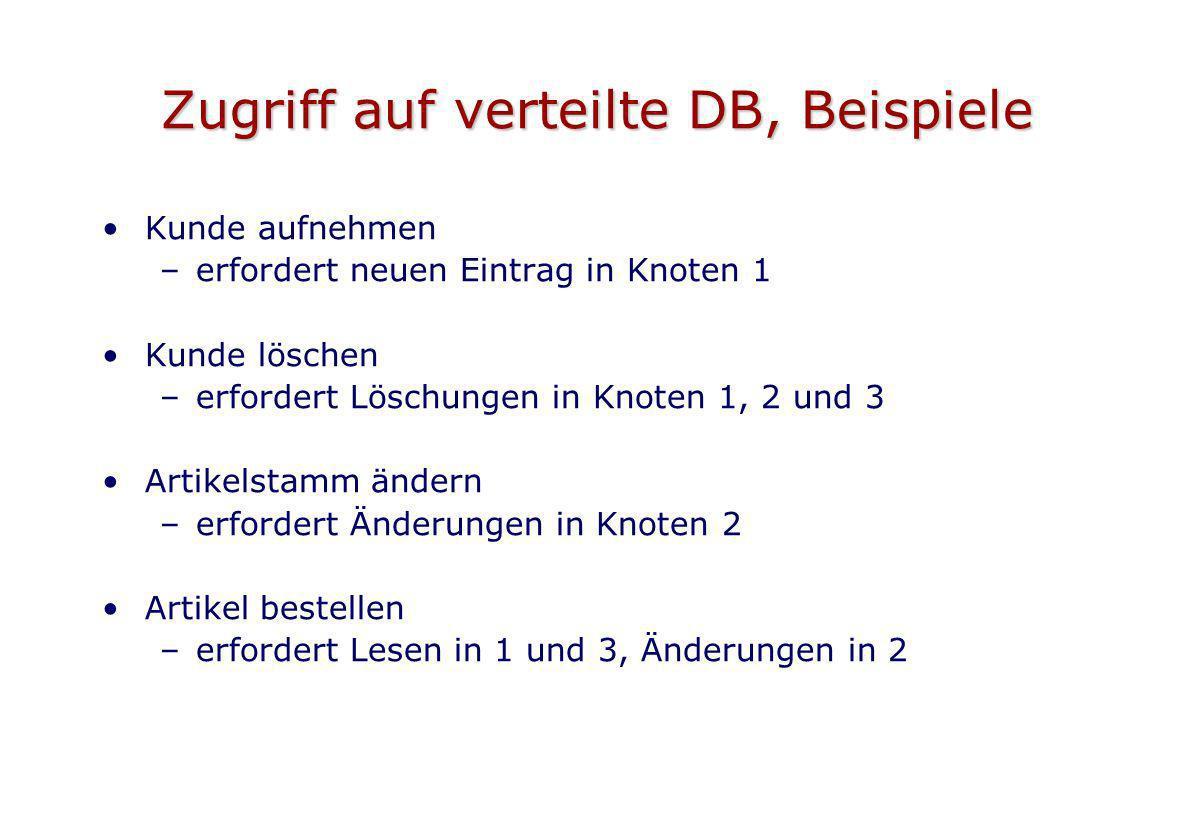 Zugriff auf verteilte DB, Beispiele