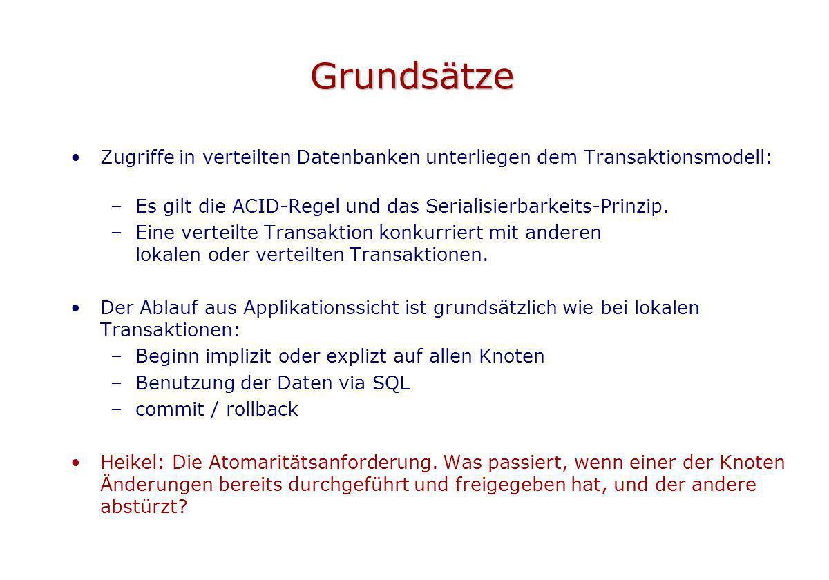 Grundsätze Zugriffe in verteilten Datenbanken unterliegen dem Transaktionsmodell: Es gilt die ACID-Regel und das Serialisierbarkeits-Prinzip.