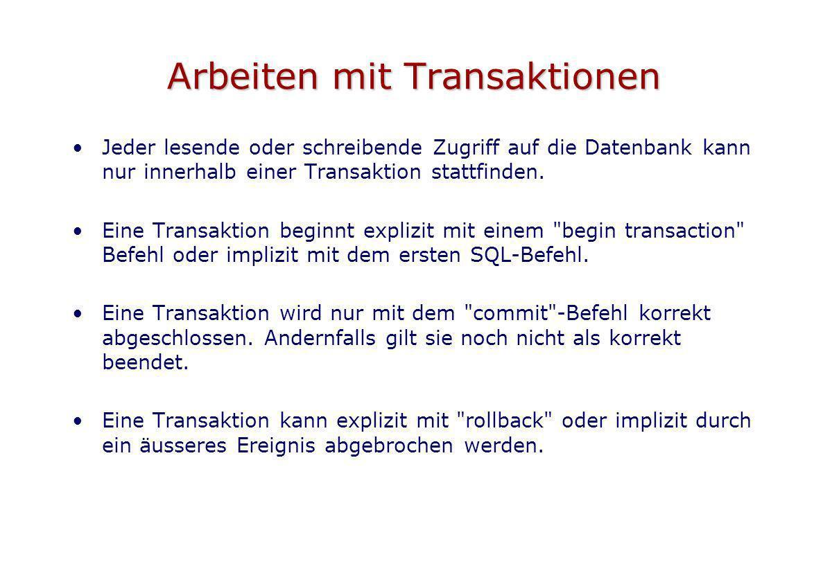 Arbeiten mit Transaktionen