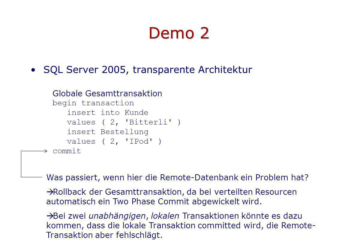 Demo 2 SQL Server 2005, transparente Architektur