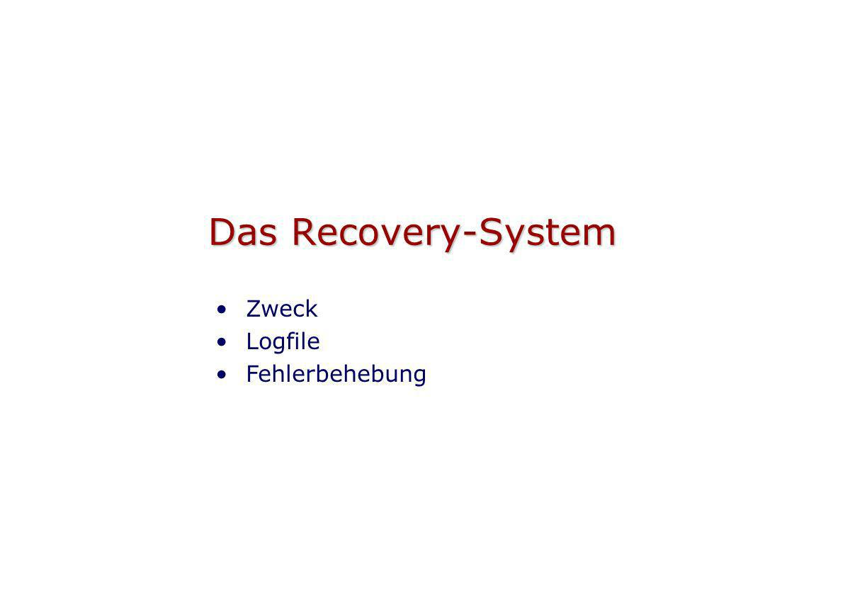 Das Recovery-System Zweck Logfile Fehlerbehebung