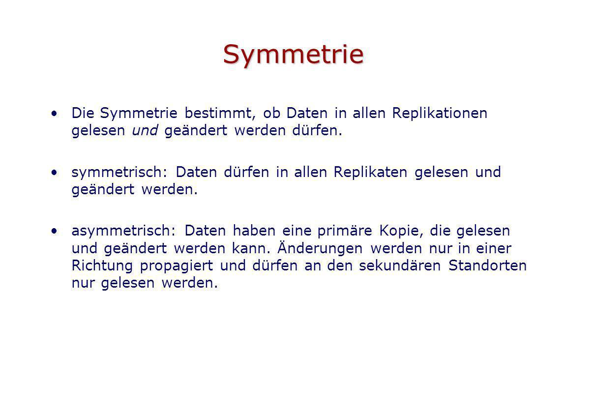 Symmetrie Die Symmetrie bestimmt, ob Daten in allen Replikationen gelesen und geändert werden dürfen.