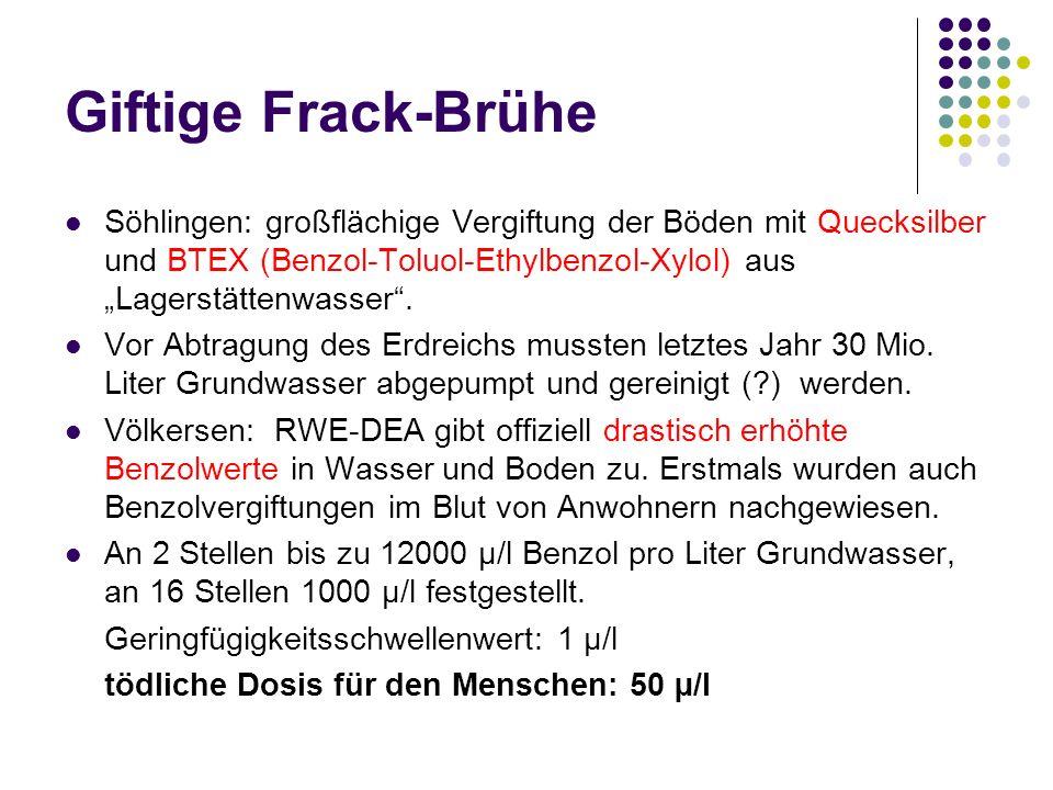 """Giftige Frack-Brühe Söhlingen: großflächige Vergiftung der Böden mit Quecksilber und BTEX (Benzol-Toluol-Ethylbenzol-Xylol) aus """"Lagerstättenwasser ."""