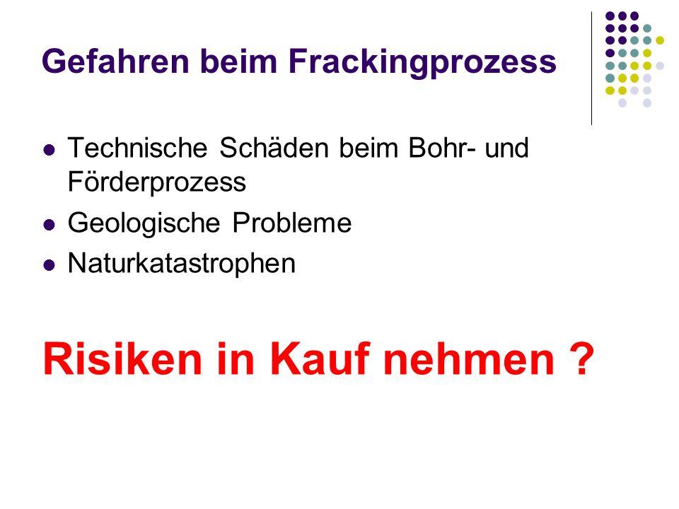 Gefahren beim Frackingprozess