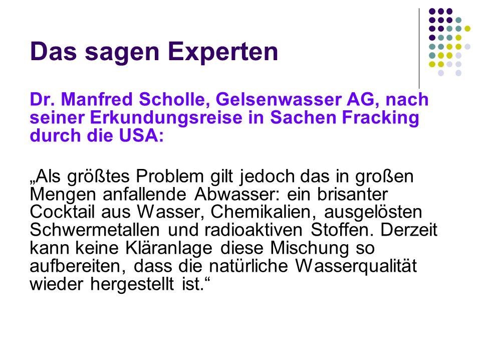 Das sagen Experten Dr. Manfred Scholle, Gelsenwasser AG, nach seiner Erkundungsreise in Sachen Fracking durch die USA: