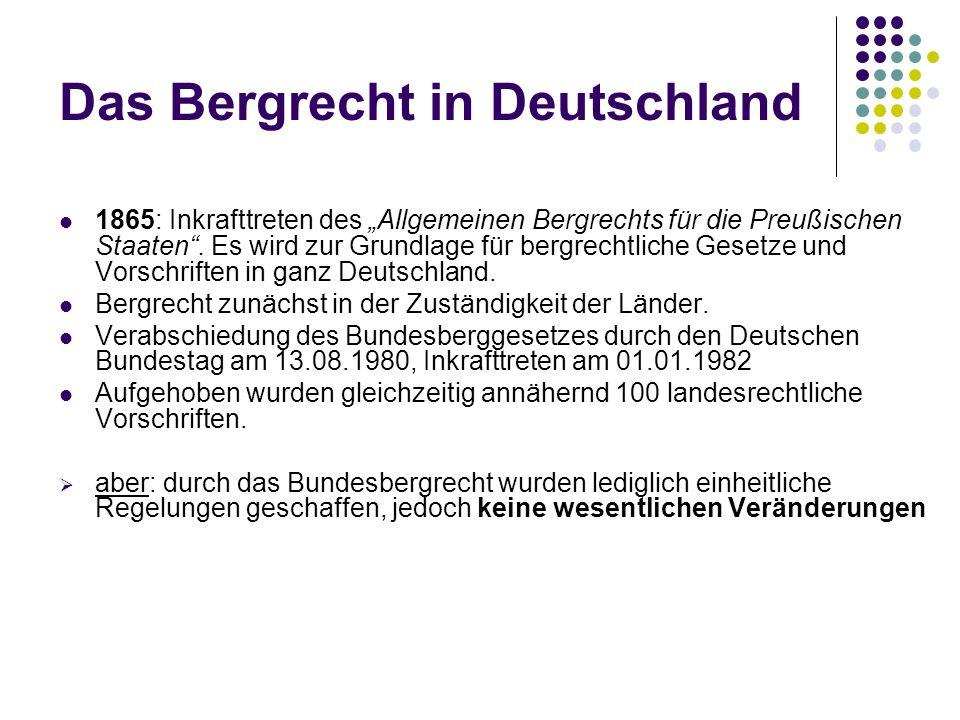 Das Bergrecht in Deutschland