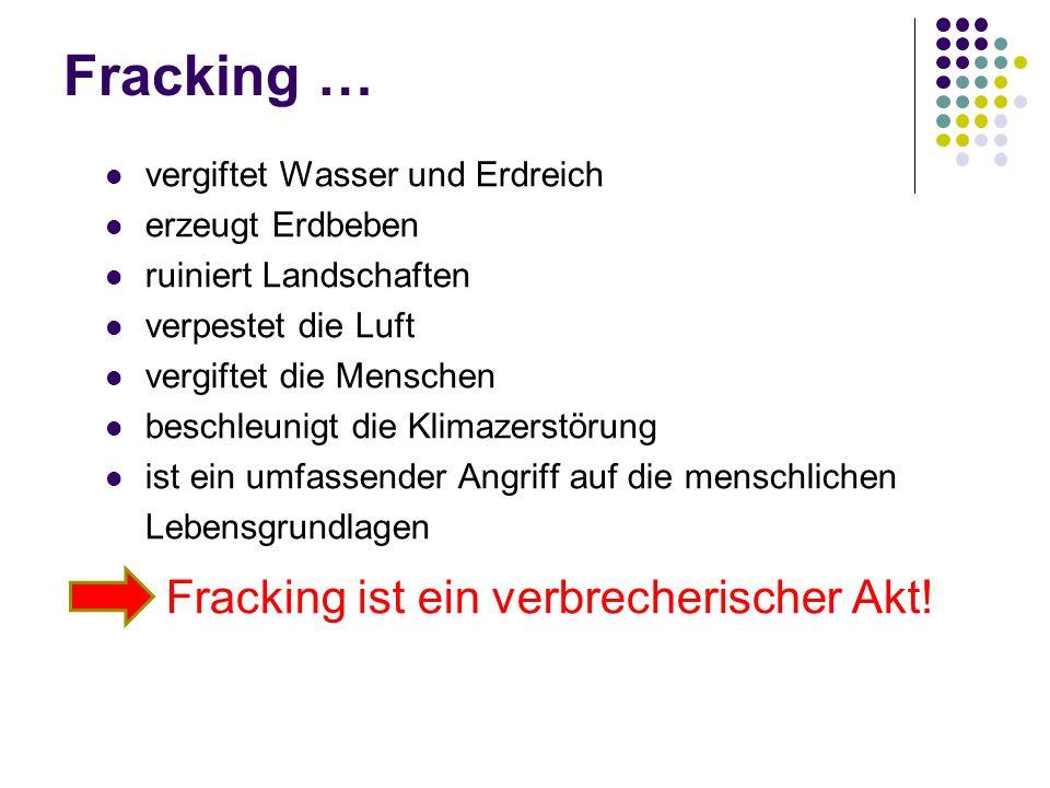 Fracking ist ein verbrecherischer Akt!