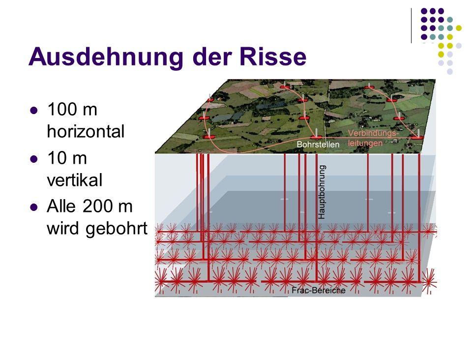 Ausdehnung der Risse 100 m horizontal 10 m vertikal