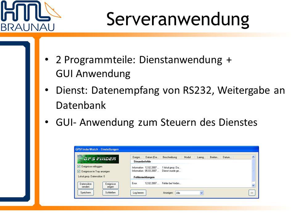 Serveranwendung 2 Programmteile: Dienstanwendung + GUI Anwendung