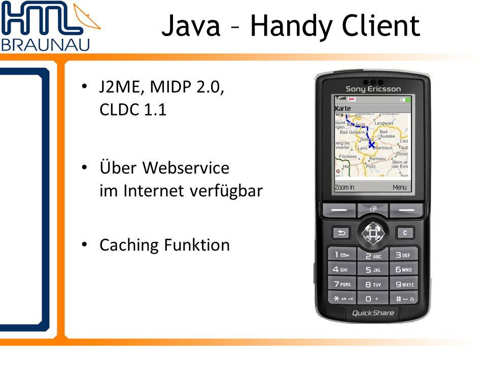 Java – Handy Client J2ME, MIDP 2.0, CLDC 1.1