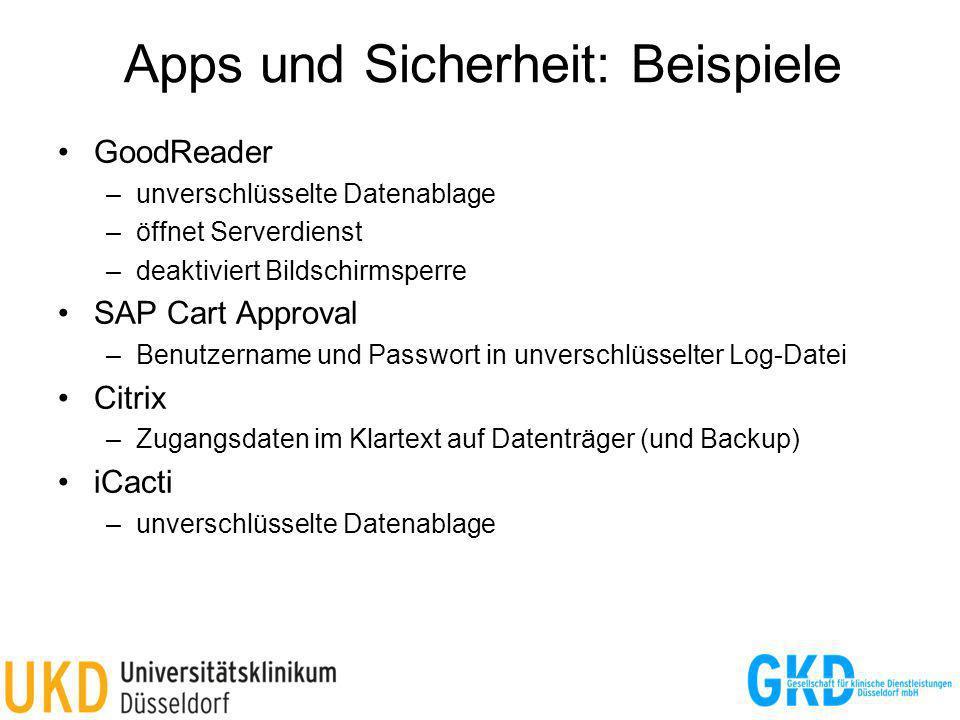Apps und Sicherheit: Beispiele