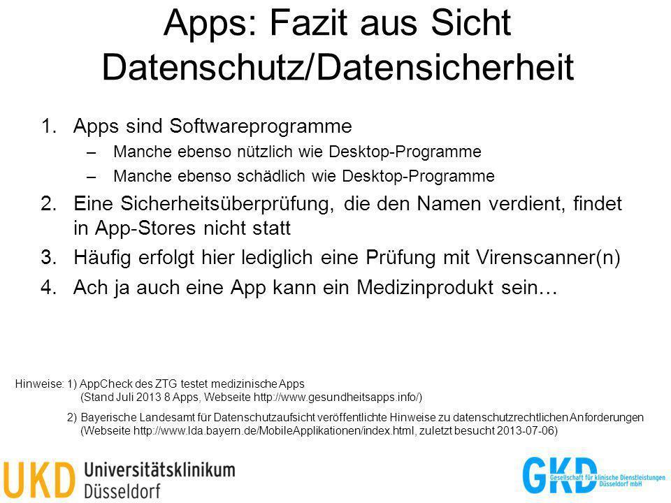 Apps: Fazit aus Sicht Datenschutz/Datensicherheit