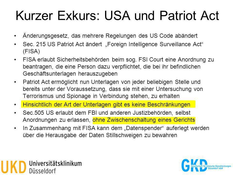 Kurzer Exkurs: USA und Patriot Act