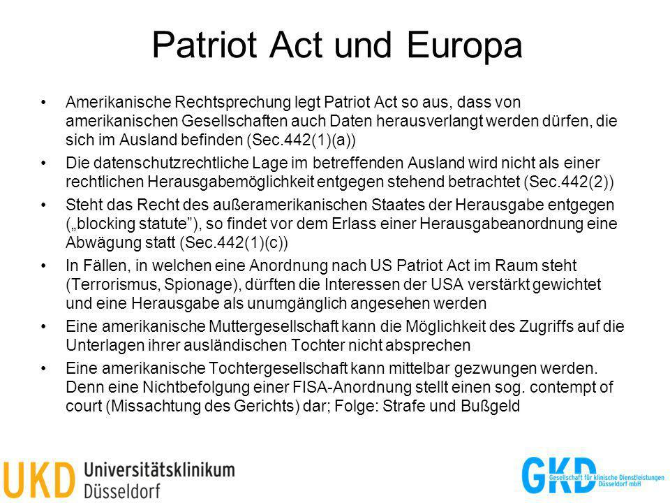 Patriot Act und Europa
