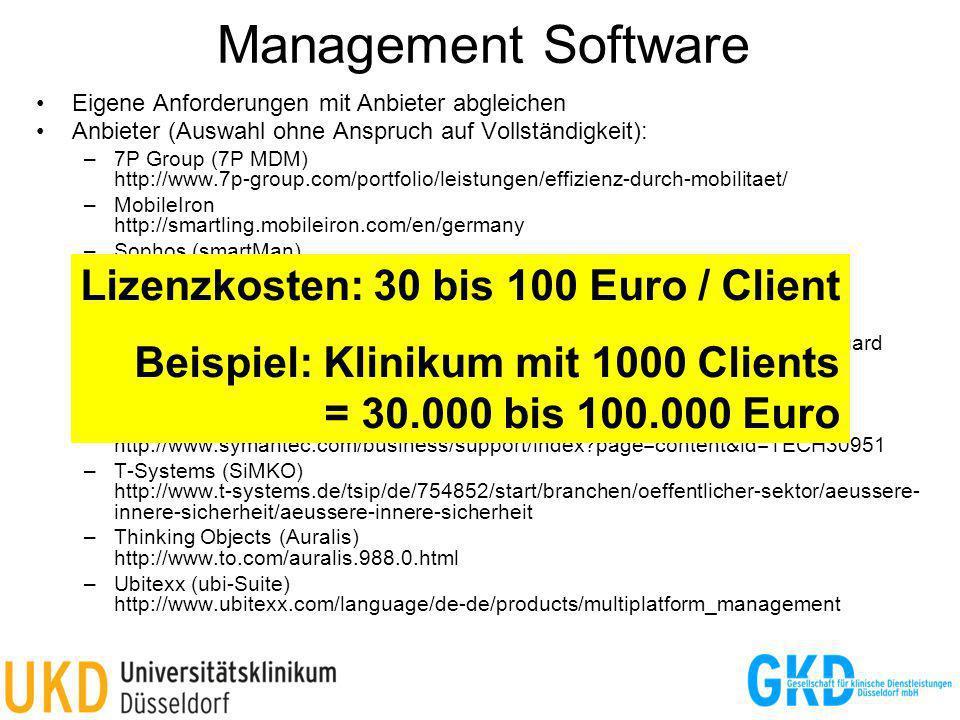 Management Software Lizenzkosten: 30 bis 100 Euro / Client