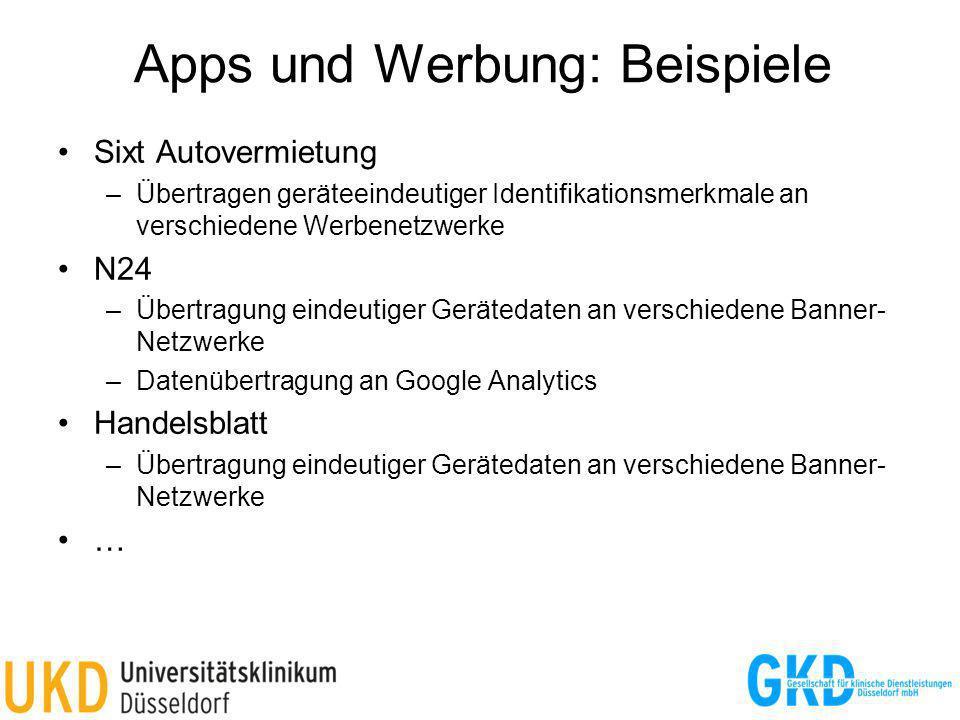 Apps und Werbung: Beispiele