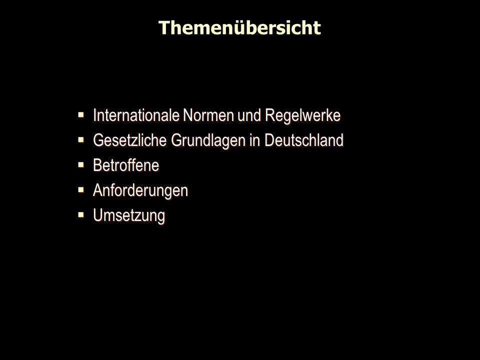 Themenübersicht Internationale Normen und Regelwerke