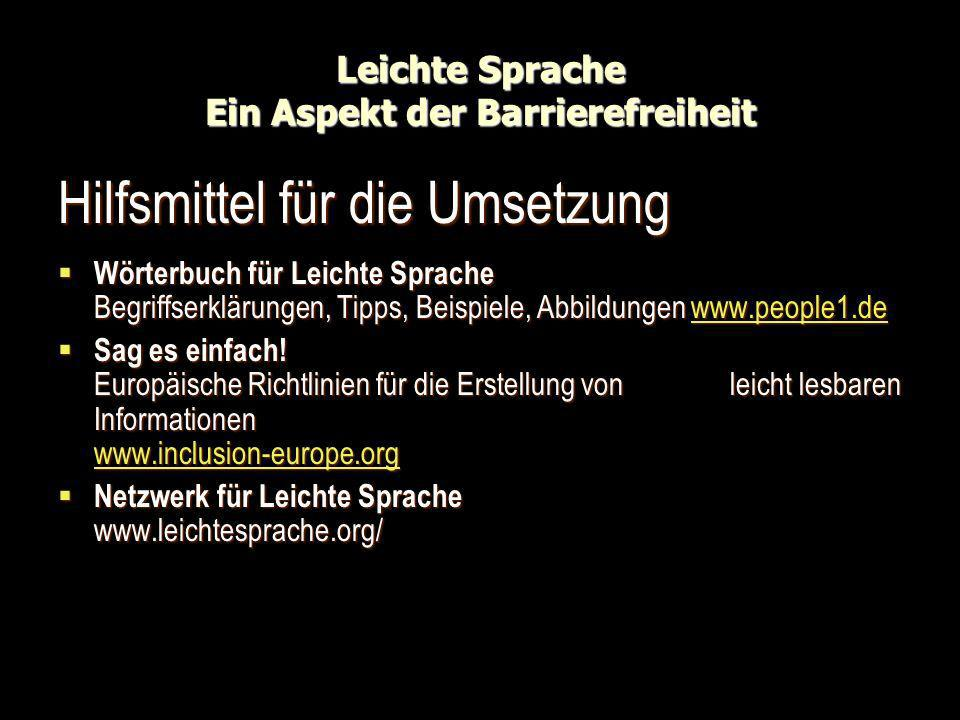 Leichte Sprache Ein Aspekt der Barrierefreiheit