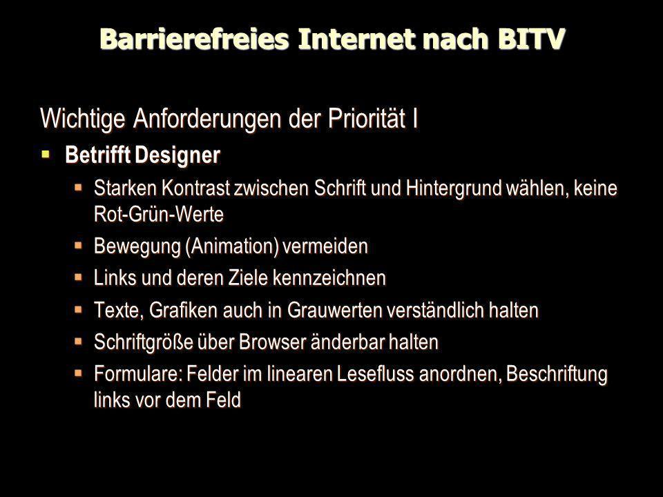 Barrierefreies Internet nach BITV