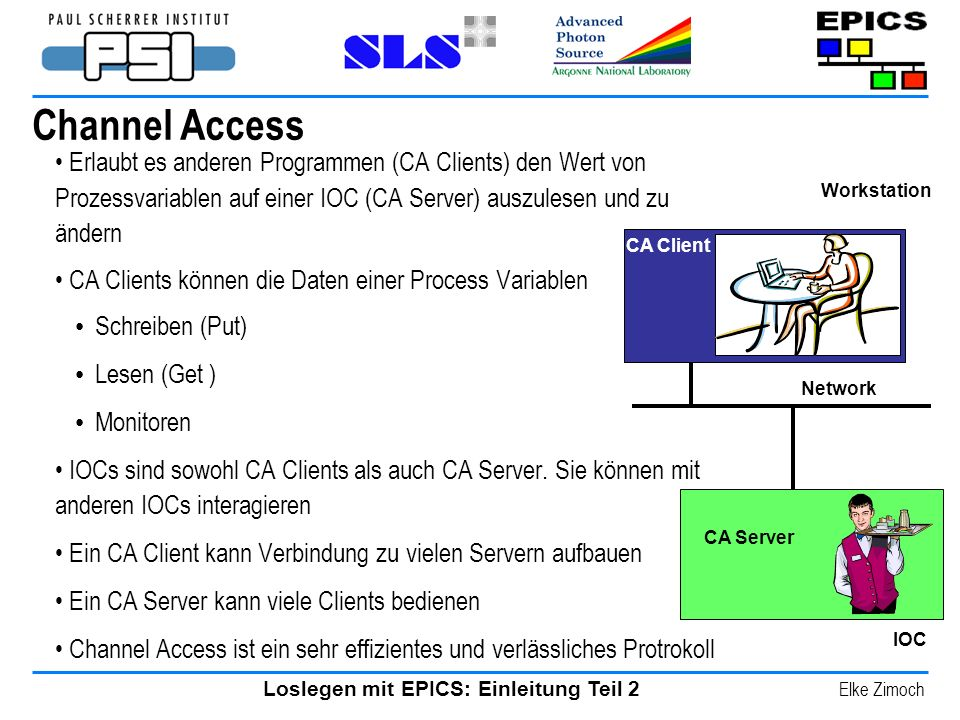 Channel Access Erlaubt es anderen Programmen (CA Clients) den Wert von Prozessvariablen auf einer IOC (CA Server) auszulesen und zu ändern.