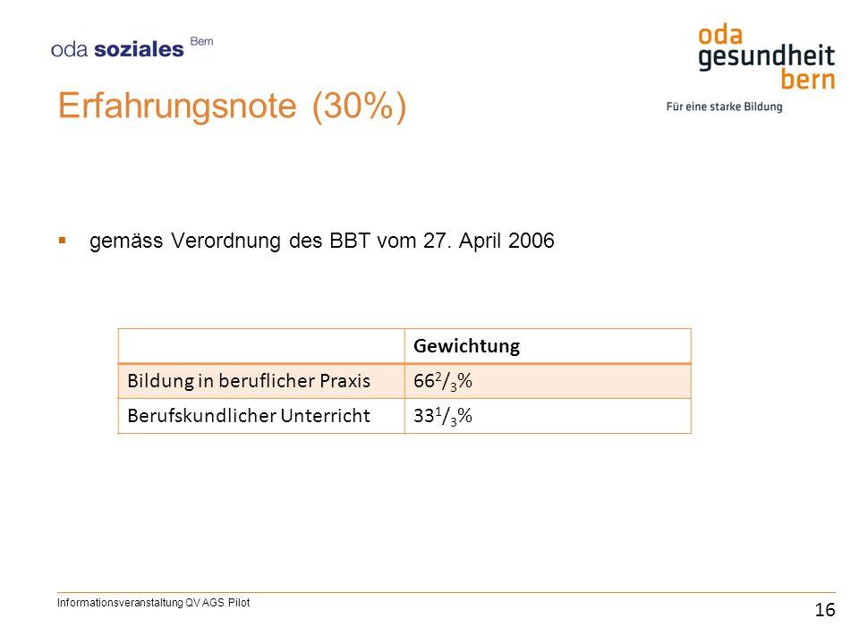 Erfahrungsnote (30%) gemäss Verordnung des BBT vom 27. April 2006