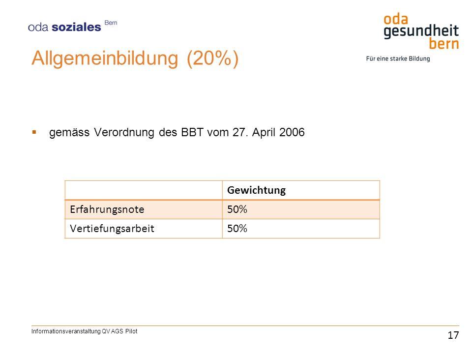 Allgemeinbildung (20%) gemäss Verordnung des BBT vom 27. April 2006