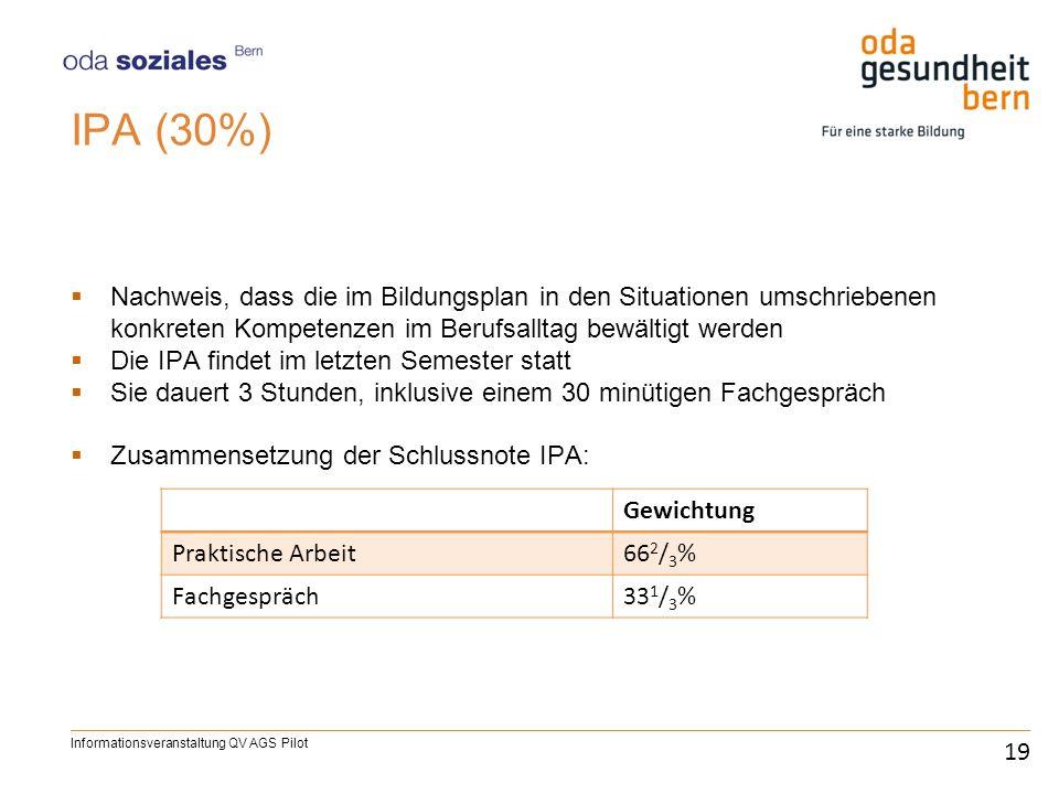 IPA (30%) Nachweis, dass die im Bildungsplan in den Situationen umschriebenen konkreten Kompetenzen im Berufsalltag bewältigt werden.