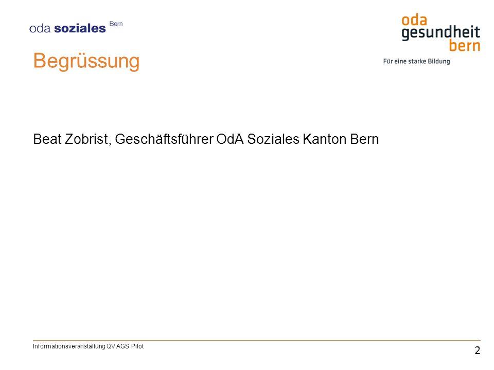 Begrüssung Beat Zobrist, Geschäftsführer OdA Soziales Kanton Bern 2