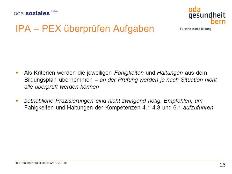 IPA – PEX überprüfen Aufgaben