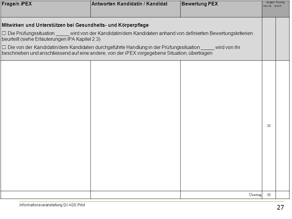 IPA 27 Frage/n iPEX Antworten Kandidatin / Kandidat Bewertung PEX