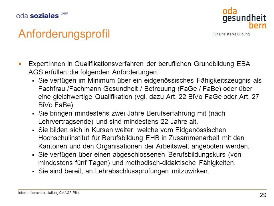 Anforderungsprofil ExpertInnen in Qualifikationsverfahren der beruflichen Grundbildung EBA AGS erfüllen die folgenden Anforderungen: