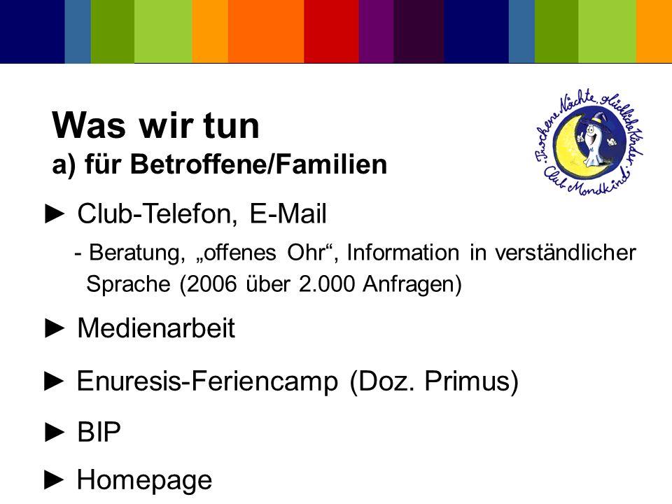 Was wir tun a) für Betroffene/Familien
