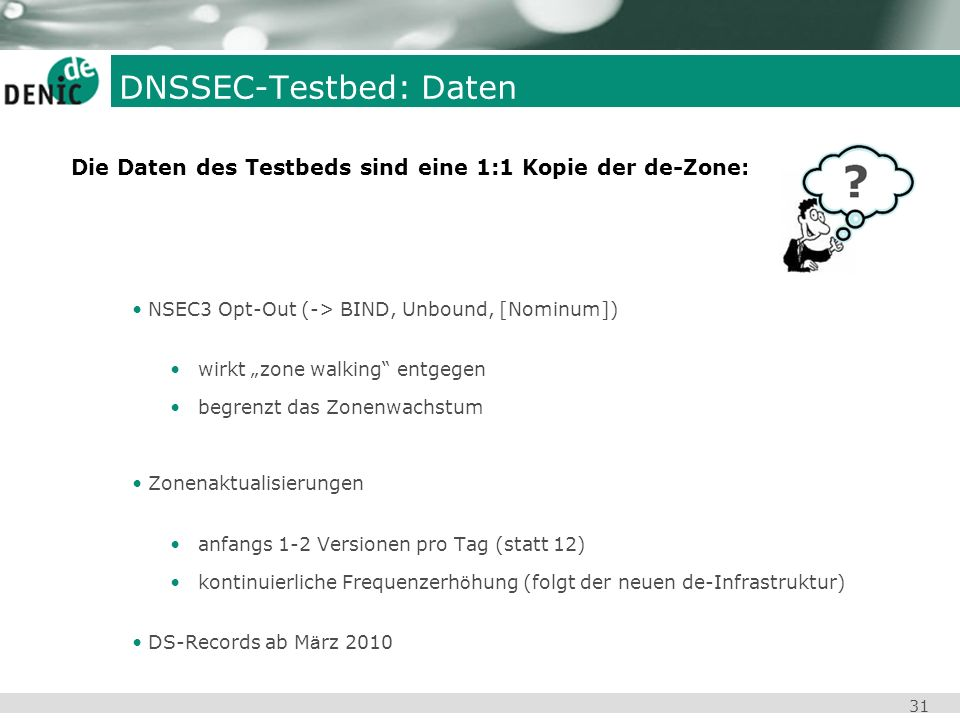 DNSSEC-Testbed: Daten