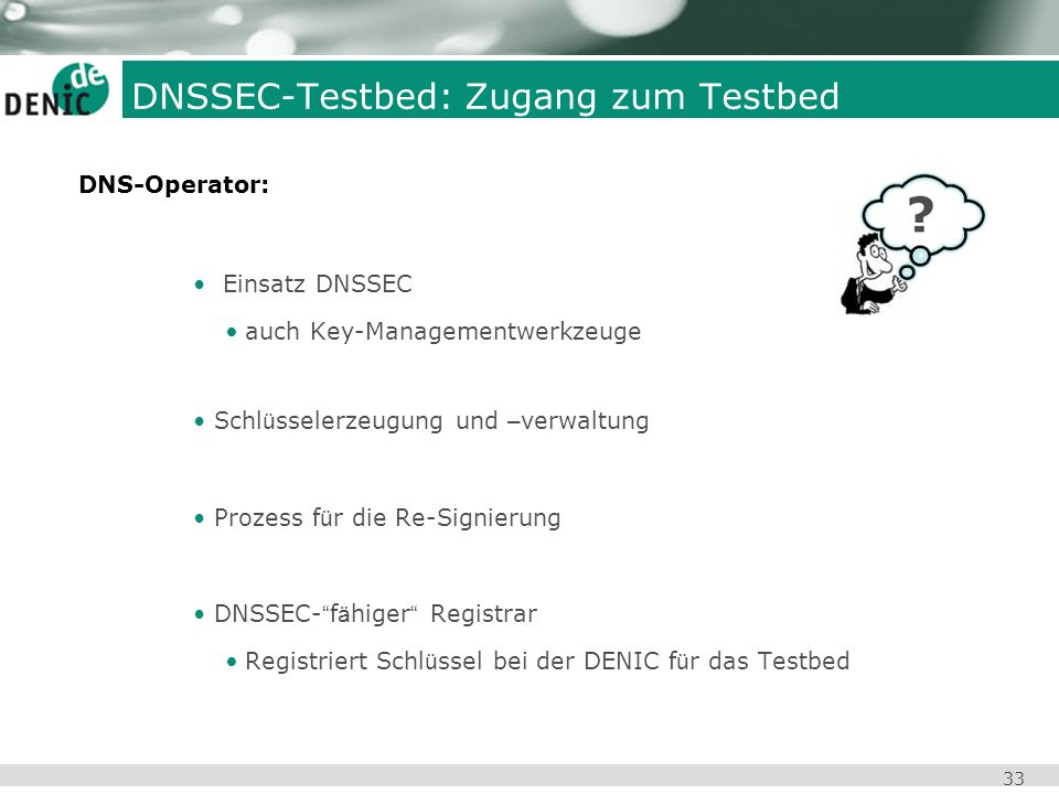 DNSSEC-Testbed: Zugang zum Testbed