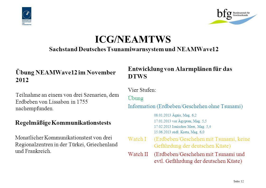 ICG/NEAMTWS Sachstand Deutsches Tsunamiwarnsystem und NEAMWave12