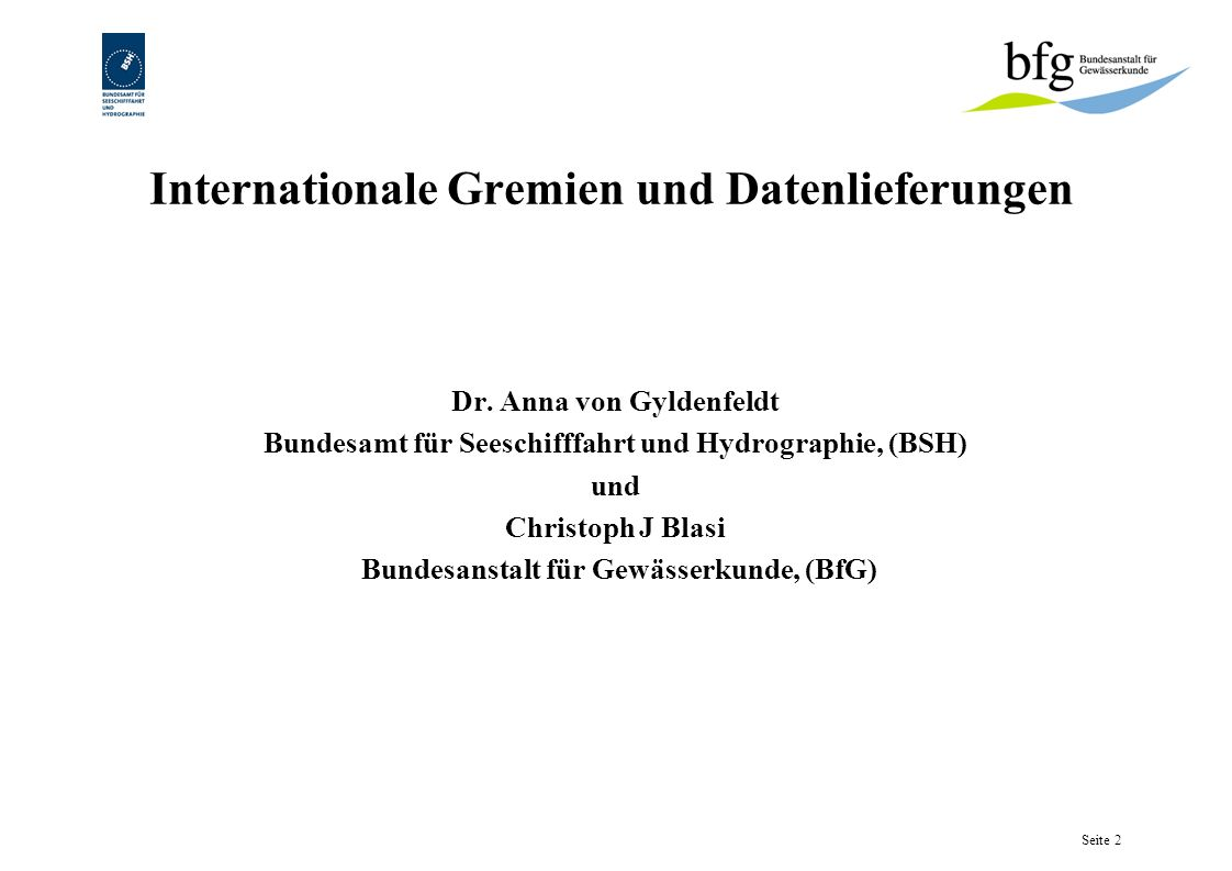 Internationale Gremien und Datenlieferungen