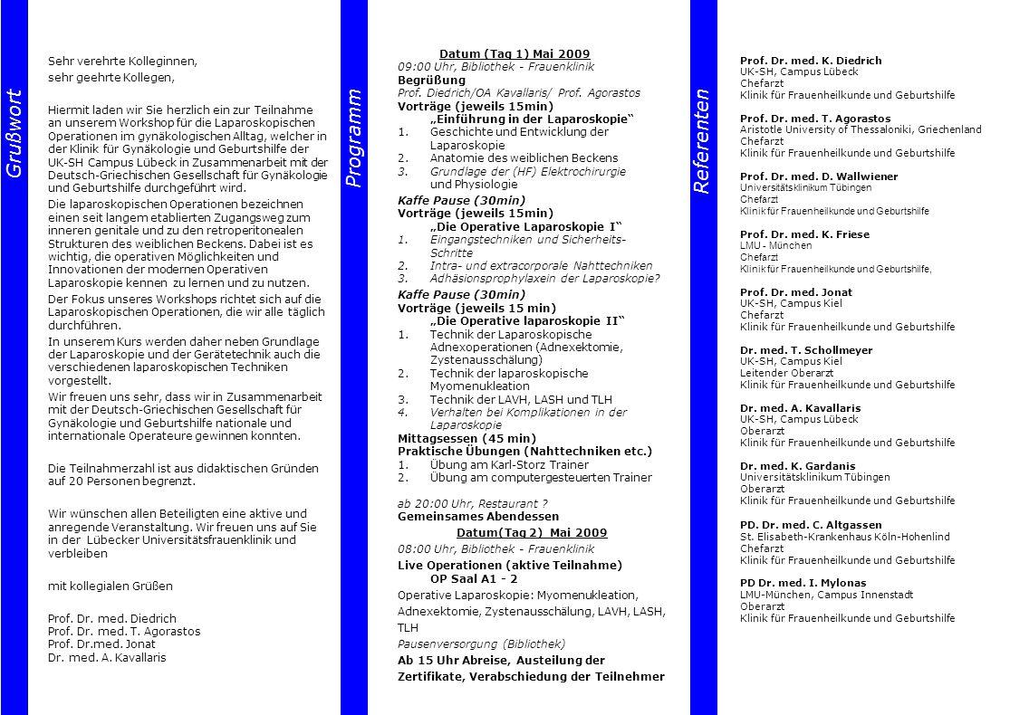Referenten Grußwort Grußwort Programm Programm Referenten