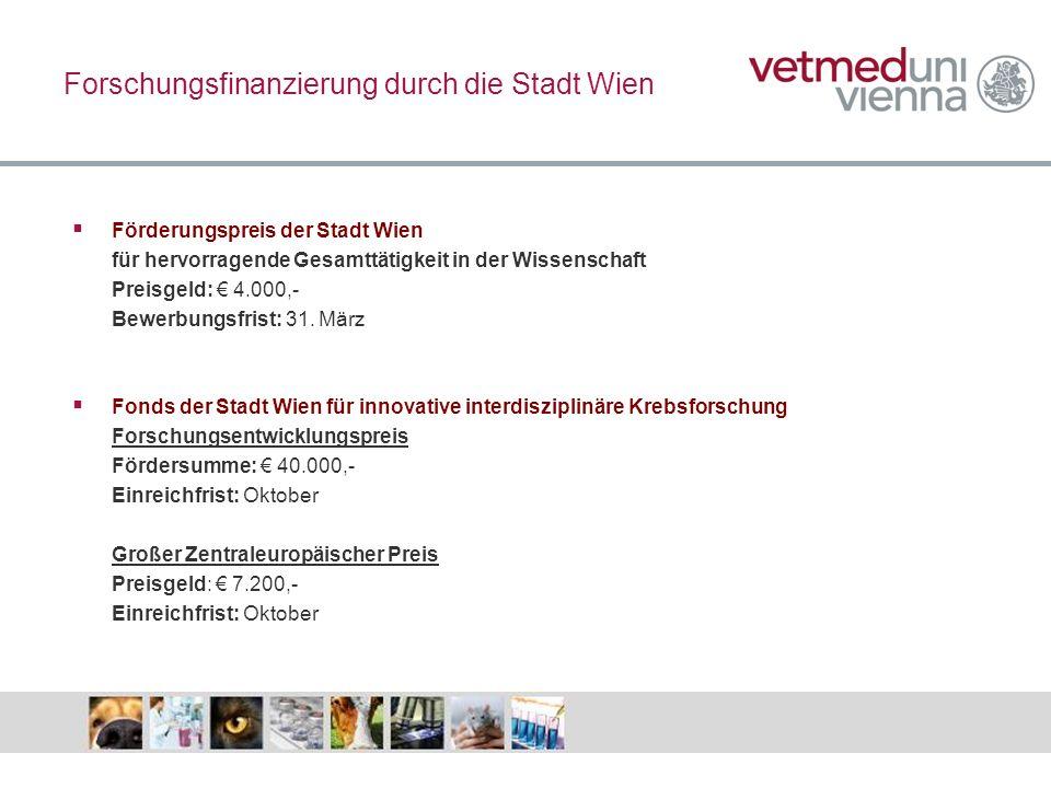 Forschungsfinanzierung durch die Stadt Wien