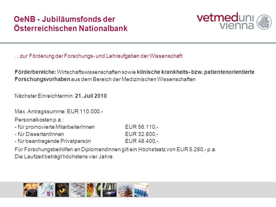 OeNB - Jubiläumsfonds der Österreichischen Nationalbank
