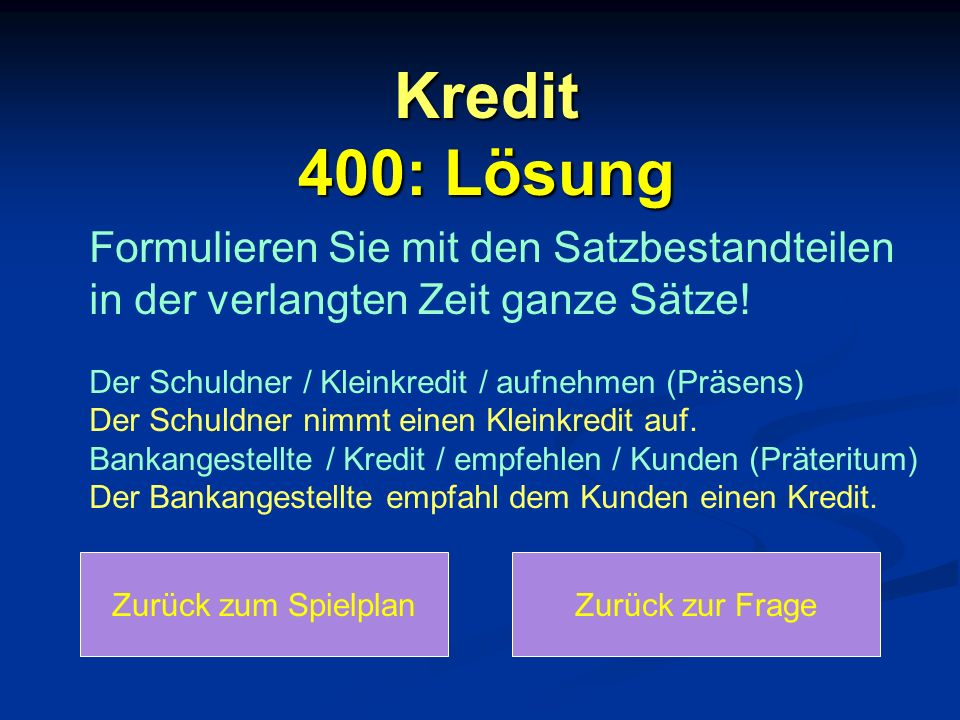 Kredit 400: Lösung