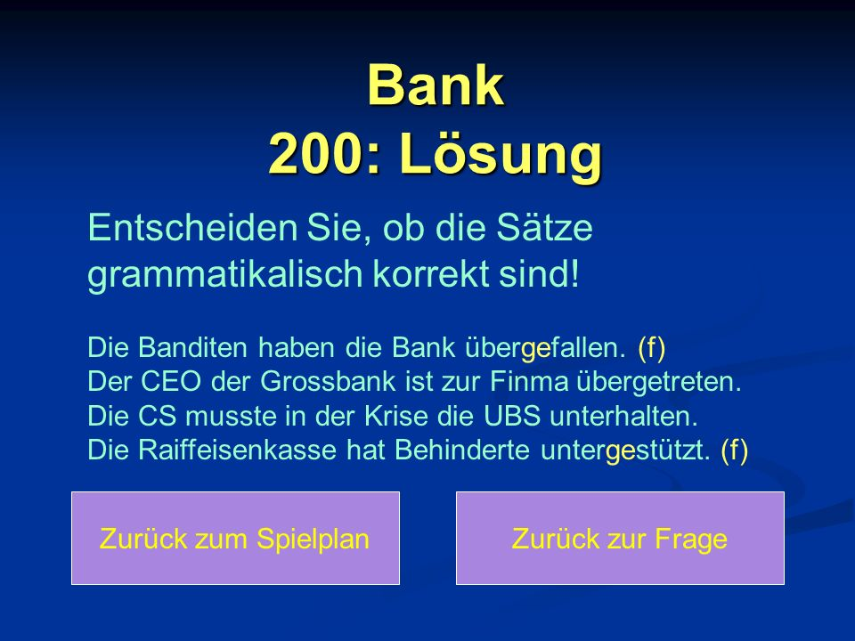 Bank 200: Lösung