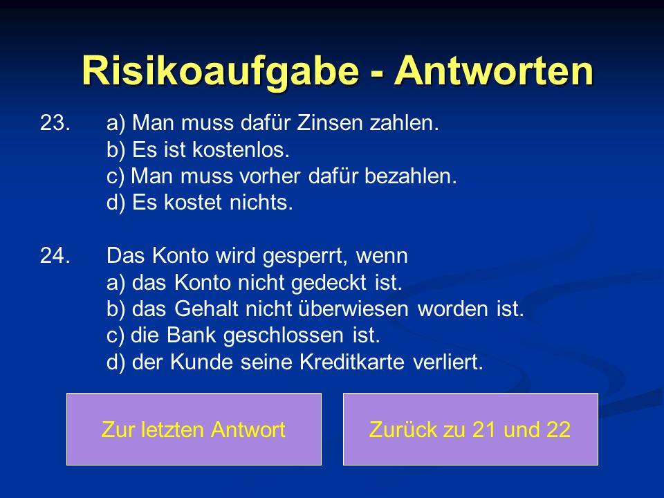 Risikoaufgabe - Antworten